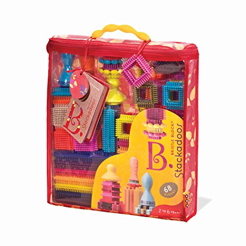 B. toys - Bristle Blocks Stackadoos – 68 Toy Blocks in a Storage Pouch – BPA Free STEM Toys Building Blocks for Kids 2 years