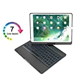 ElementDigital iPad Pro 10.5 Keyboard Case Bluetooth Wireless Keyboard Protective Cover iPad Stand 360 Degree Rotation 7 Color Backlit for iPad Pro 10.5-inch Retina Display A1701 A1709 (Black)