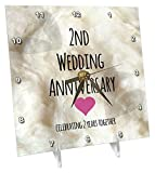 3dRose 2Nd Wedding Cotton Celebrating 2 Years Together - Second Anniversaries Two yrs - Desk Clock, 6 by 6-Inch (dc_154429_1)
