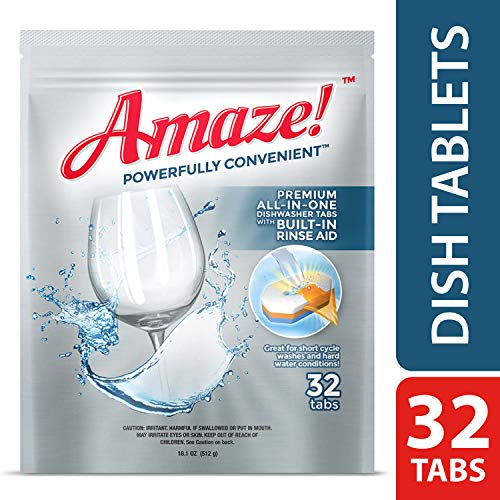 Amaze Premium All-in-One Dishwasher Tablets - Powerful Hard Water Performance! (32 Count Pack)