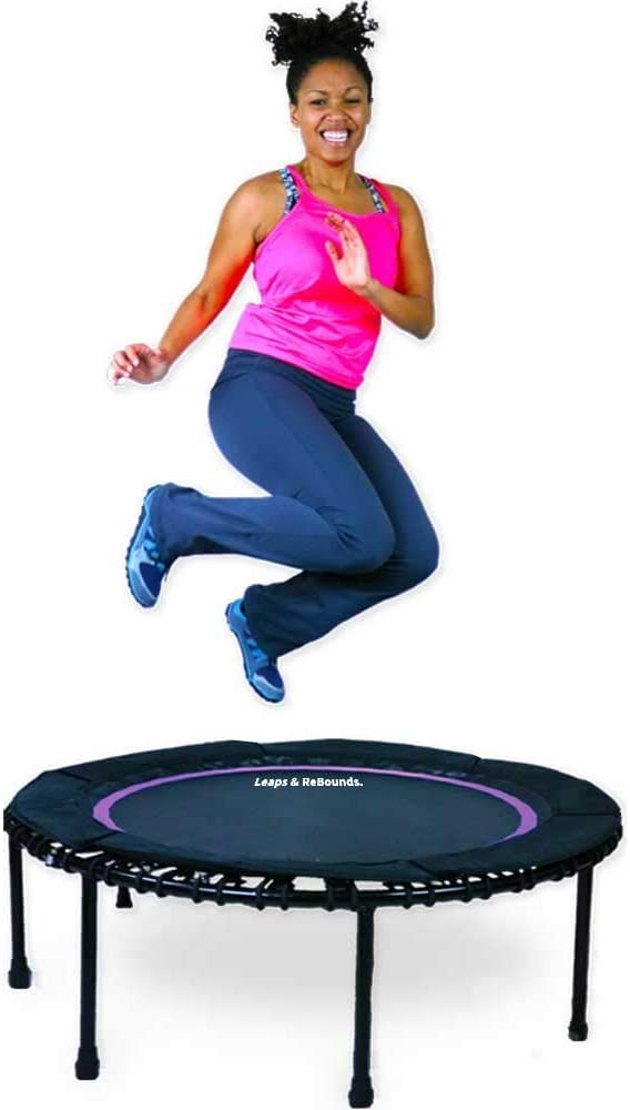 Leaps ReBounds Rebounder – Fitness Trampoline – Full-Size Protective Mat – Minimal Joint Impact – High-Calorie Burn – Improve Cardio, Balance, and Physical Strength