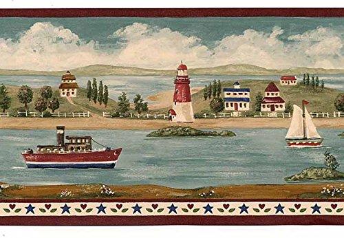 Crewcut Lighthouse Wallpaper Border - Burgundy BV006101B (Border Beach Wallpaper Scene)