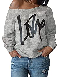 b181814fb72 Womens Plus Size Off Shoulder Pullover Sweatshirt Love Wifey Letter Printed  Tops Shirts