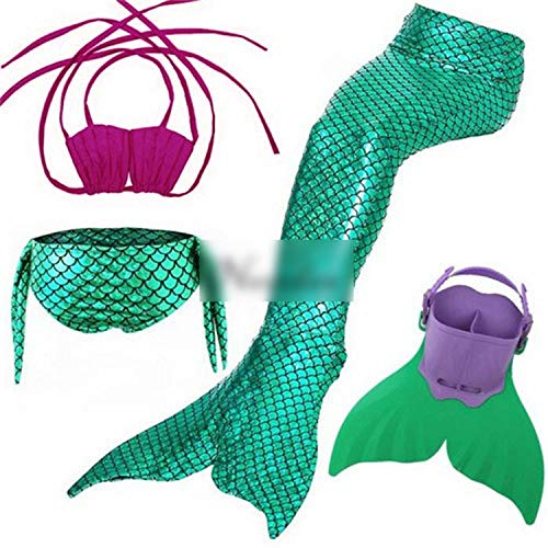 Kids Swimming Mermaid Tail with Monofin Swimsuit Costume CClothing,Style 4,10T Tail]()