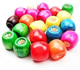 ALL in ONE Mixed Color Painted Large Hole Round Wood Spacer Beads for DIY Project (12mm 54gram/100pcs)