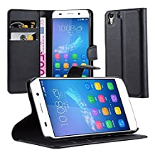 Cadorabo - Book Style Wallet Design for Huawei Y6 with 2 Card Slots and Stand Function - Etui Case Cover Protection Pouch in OXID-BLACK