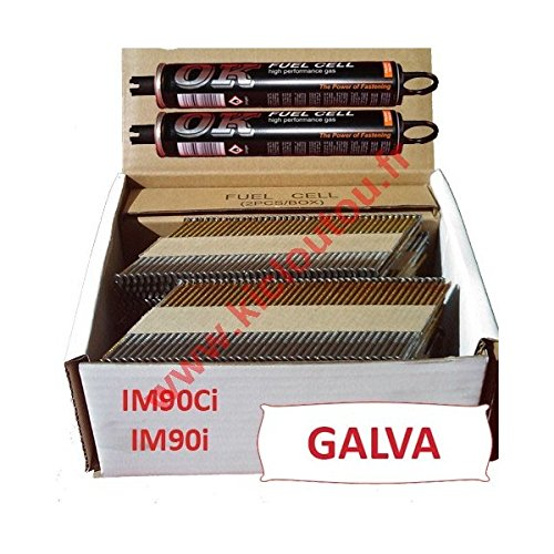 Pack 2000Nägel 3.1x 60, gewellt, verzinkt,, für Paslode IM90i/IM90Ci, 2000Stück
