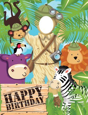 Pack of 6 Safari Adventure ''Happy Birthday'' Photo Op Banners With Animals and Explorer 52''