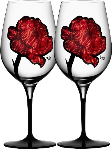 Kosta Boda Tattoo Wine Glasses Pair