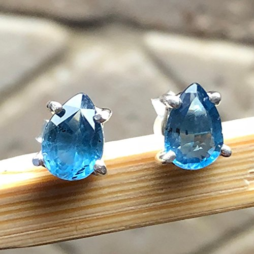 Natural Teal Blue Kyanite 925 Solid Sterling Silver Pear Cut Earrings 6mm Long