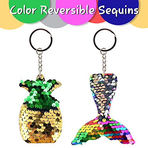 LovesTown 18PCS Sequin Keychain, Mermaid Animal Flip Sequin Keychain Key Chains for Kids Key Chains Backpacks