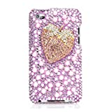 iSee Case 3D White Pearl Bling Rhinestone Crystal Jeweled Snap on Full Cover Case for iPod touch 4 4th Generation iTouch 4 (Pink Strawberry)