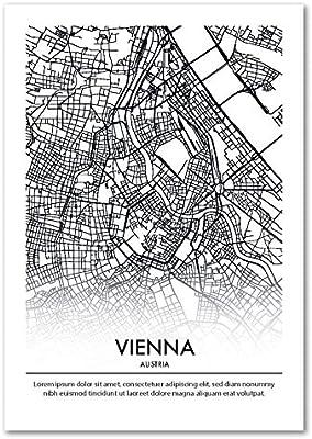 Panorama Póster Mapa Viena Personalizado 21x30cm - Impreso en Papel 250gr - Póster Mapa Ciudad - Láminas para Enmarcar - Regalo Personalizado Original - Cuadro Personalizado: Amazon.es: Hogar