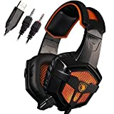 Sades SA-738 3.5mm Wired Lightweight Stereo Over Ear Gaming Headphones Led Lighting Headsets with Microphone PU Ear-pad for Laptop PC/MAC/Laptop Sades Retail Box(Black Orange)