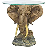 Design Toscano Lord Earl Houghtons Trophy Elephant Glass-Topped Table