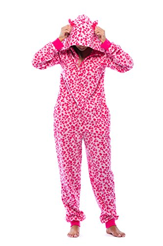 6453-10215-XL Just Love Adult Onesie with Animal Prints / Pajamas, Pink Leopard, X-Large -