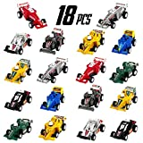 Pull Back Vehicles Mini Race Car Set Kids Party Favors Supplies Cake Topper Gift Idea for Toddler Boys Girls 3 4 Year Old, 18PCS