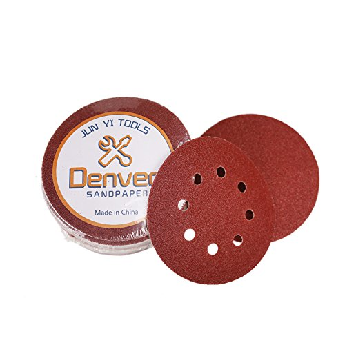 Denveo Dry Sanding Disc 60/80/120/180/240/320 Grit 5 Inch and Sandpaper Assortment, Hook and Loop System Red Paint and Steel Sanding for Random Orbital Sander, Pack of 60 (8 Holes) by Denveo (Image #6)