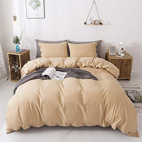 - Miffrovn Yellow Washed Cotton Duvet Cover Queen (90