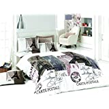 100% Cotton, Paris Vintage Gray Full/Queen Size Duvet Cover Set Eiffel Tower Theme Paris Bedding Linens 5 PCS COMFORTER INCLUDED