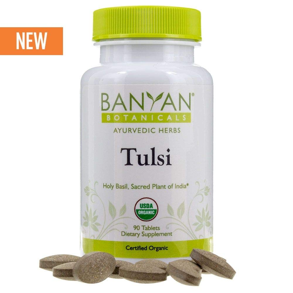 Banyan Botanicals Organic Tulsi, Holy Basil Tablets 90 ct - Adaptogen Supplement Promotes Optimal Function of The Lungs, Heart, Digestion. Supports Stress Relief and Healthy Inflammatory Response**