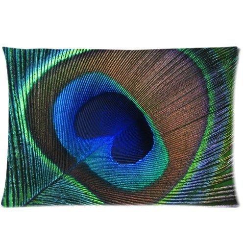 Piuma di pavone stampato con cerniera cuscino cover 50,8/x 76,2/cm