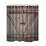 NYMB Rustic Country Wood Decor, Wooden Door of the Entrance to the Barn, Polyester Fabric Waterproof Shower Curtains, 69X70 in, Shower Curtain Hooks Included(Multi3)