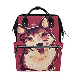 COOSUN Corgi Dog Painting Nappy Changing Bag Diaper Backpack with Insulated Pockets Stroller Straps, Large Capacity Multi-Function Stylish Diaper Bag for Mummy Dad Outdoor