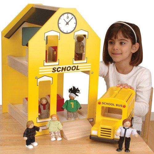 Constructive Playthings KRP-39 Let's Play School- School House Toy for Kids
