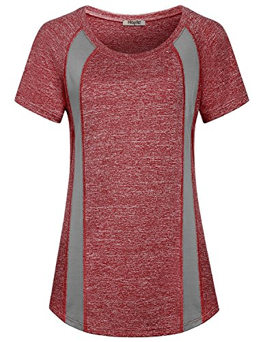 (Hibelle Yoga T Shirt, Ladies Activewear Scoop Neck Casual Clothes Lightweight Fitness Gym Running Sports Daily Wear Holiday Comfy Loose Fit Crewneck Jersey Blouses Bordeaux Red XL)