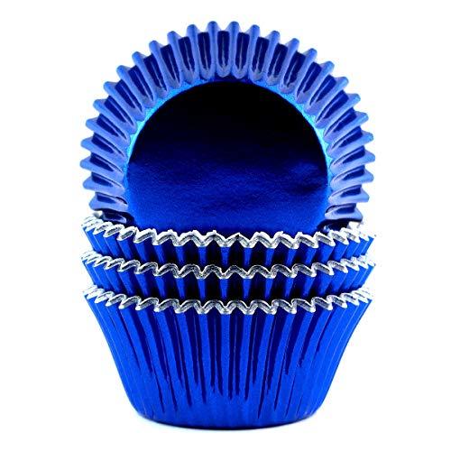 Royal Blue Cupcake Liners (Eoonfirst Foil Metallic Cupcake Liners Standard Baking Cups 100 Pcs (Navy)