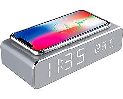 YOOXI Despertador com carregamento sem fio, 2 em 1 HD espelhado, despertador digital com carregador sem fio e termômetro adeq