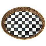 MacKenzie-Childs Courtly Check Rattan & Enamel Tray - Large