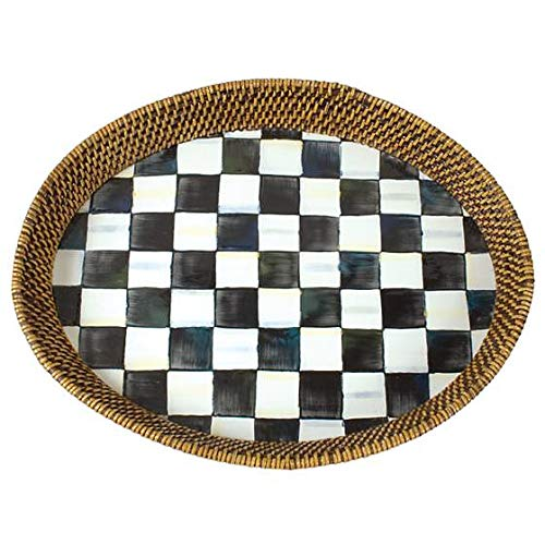 MacKenzie-Childs Courtly Check Rattan & Enamel Tray - Large ()
