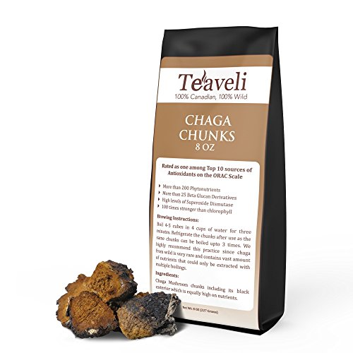 Chaga Mushroom Chunks for Chaga Tea-8 oz of Premium, Organic, Wild Harvested, Carefully Picked Chagas from Live Birch Trees In the Deep Laurentian Forests –Antioxidants Rich Herbal Super (Canada 200 Capsules)