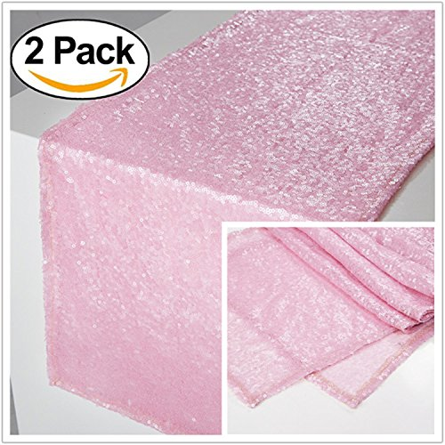 (Zdada Frozen Themed Party Sequin Tablerunner Sparkly Candy Buffet Table Linens for Christmas-Blush Pink 12