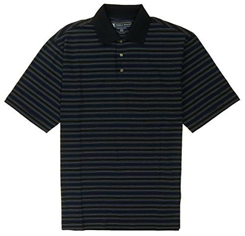Pebble Beach PERFORMANCE Mens Pima Cotton Blend Polo Golf Shirt (XX-Large, Black Pin Stripe) (Pima Golf)