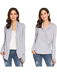 Women's Casual Soft Long Sleeve Open Front Drape Cardigan