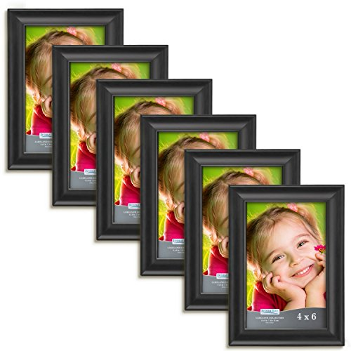 Icona Bay 4 by 6 Picture Frames (4x6, 6 Pack, Matte Black) Wood Photo Frames, Wall Mount Hangers and Table Top Easel, Landscape as 6x4 Picture Frames or Portrait as 4x6, Lakeland Collection (The Picture Frame)
