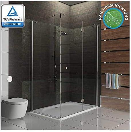 Mampara de ducha esquina ducha de cristal de alta calidad para ducha con - mampara de vidrio templado-vidrio Glasdveredelung 120 x 100 x 195: Amazon.es: Bricolaje y herramientas
