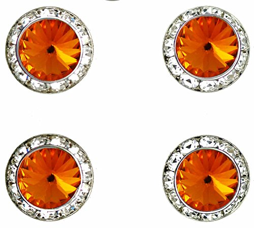 Horse Jewelry Show - Horse jewelry magnetic contestant show number pins Tangerine Swarovski crystal set of 4