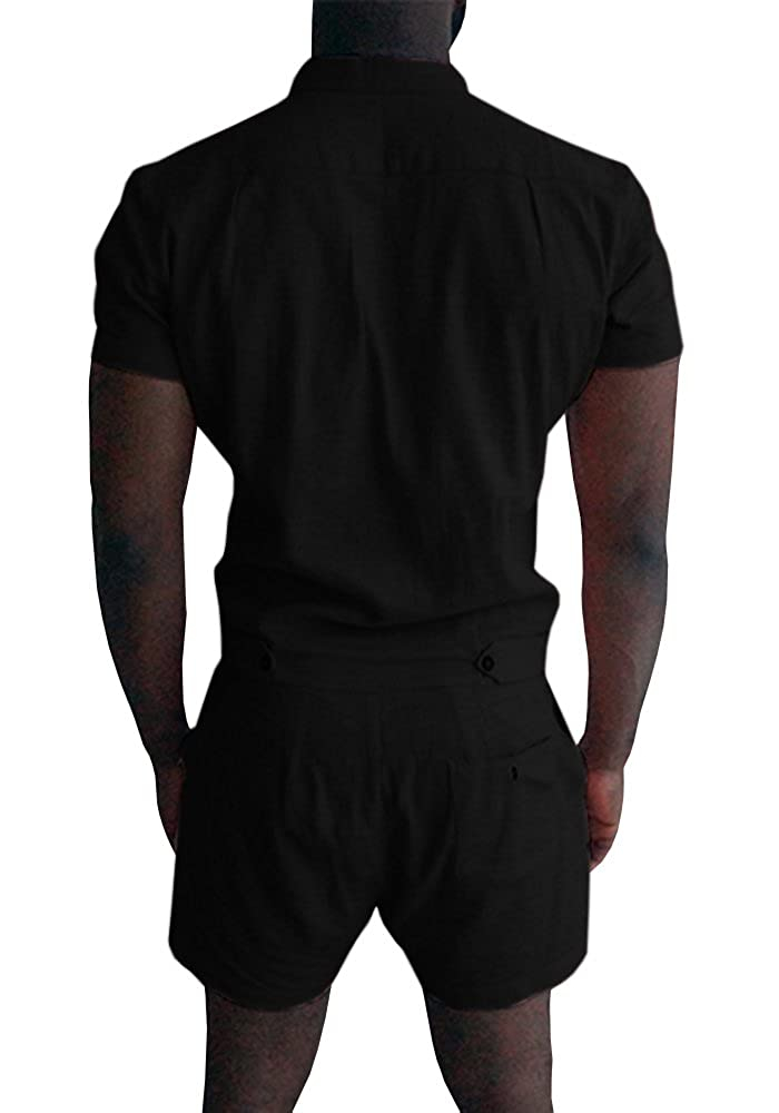 7f2ee397fe6a Gemijack Mens Romper Short Sleeve One Piece Slim Fit Jumpsuits Plain  Overalls at Amazon Men s Clothing store
