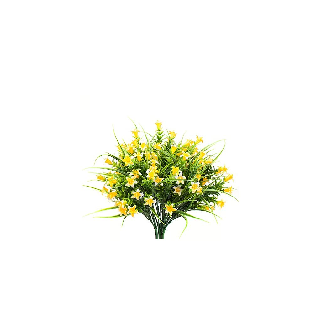 MIXROSE Small Artificial Fake Faux Yellow Campanula Flowers Arrangement Bouqet for Home Kitchen Counter Table Desktop Office Décor (4 Bunches)