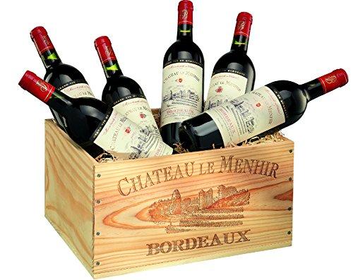 Geschenk-Set: Rotwein aus Frankreich, Château le Menhir, AOC Bordeaux, 6 Flaschen à 0,75 l