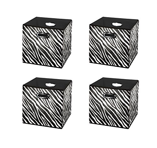 Wall Zebra Metal ([4pack Zebra Pattern] Large Storage Bins, Containers, Boxes, Tote, Baskets| Collapsible Storage Cubes Household Organization |Beautiful Style for boy girl | Storages Drawer (Zebra Pattern 4pack Large))