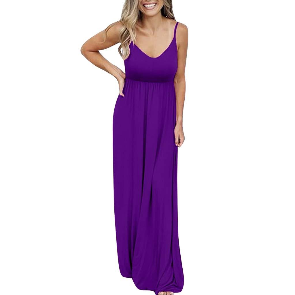 Womens Plus Size Maxi Dress Casual Plain Cold Sleeveless Adjustable Strap Long Dresses Loose Ruffle Dresses (Purple, L)