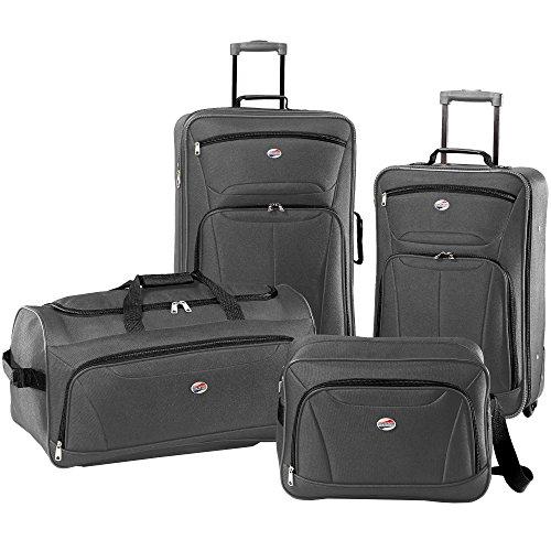 American Tourister Luggage Fieldbrook II 4 Piece Set (One Size, Charcoal) American Tourister Lightweight Garment Bag