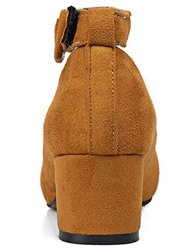 Idifu Donna Vintage Scarpe A Punta Décolleté In Pelle Scamosciata Con Cinturino Alla Caviglia E Cinturino Alla Caviglia Giallo