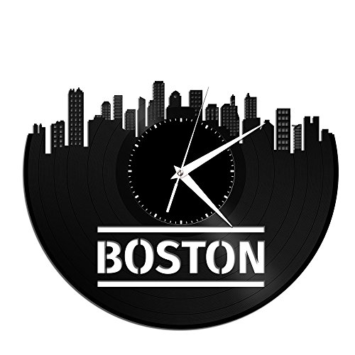 VinylShopUS – Boston Massachusetts Vinyl Wall Clock City Skyline Unique Gift