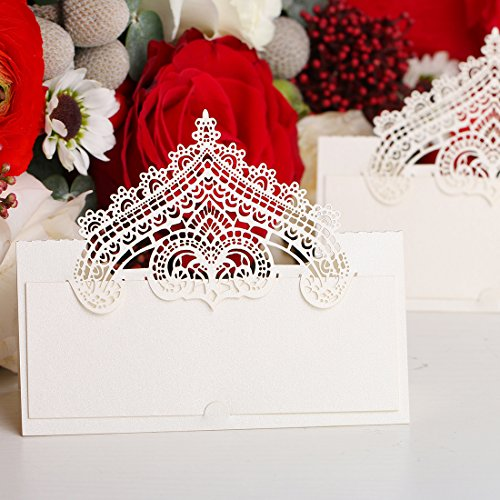 60pcs Wedding Place Cards Personalised Table Name Reception Decoration with White Lace Crown Pattern Cardstock for Wedding ()